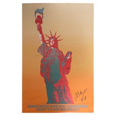 DNC 1980 Statue of Liberty Poster Signed by Peter Max