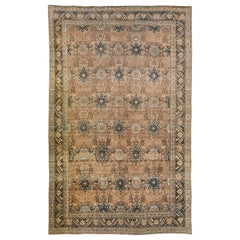 Antique Tabriz Beige and Blue Handmade Floral Pattern Persian Ovesize Wool Rug