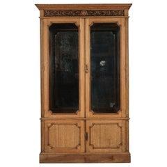 Antique Victorian Carved Oak 2 Door Display China Cabinet, Scotland, 1890