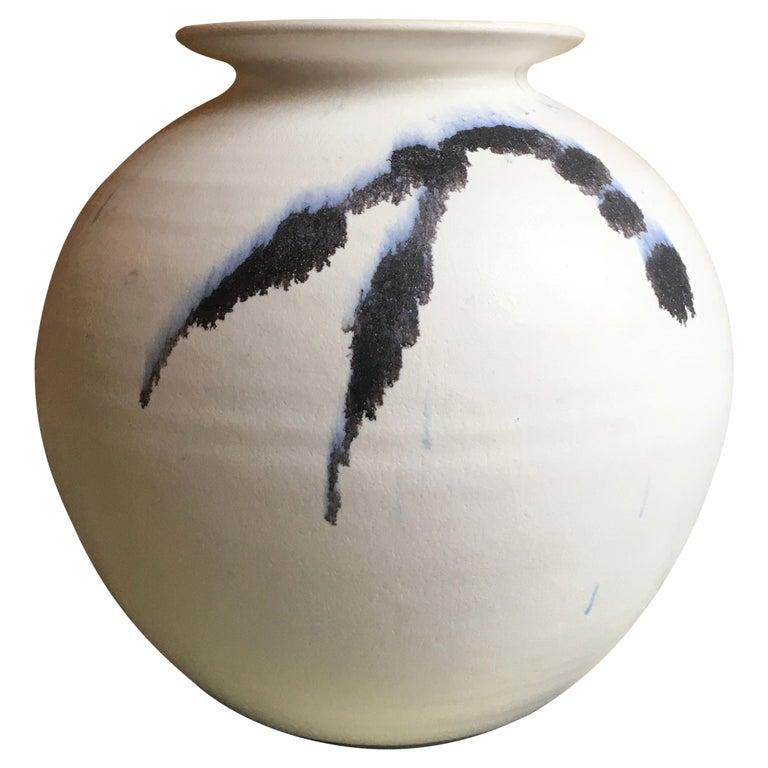 Chalk White Danish Modern Ceramic Vase by Karsten Nielsen, 1980s