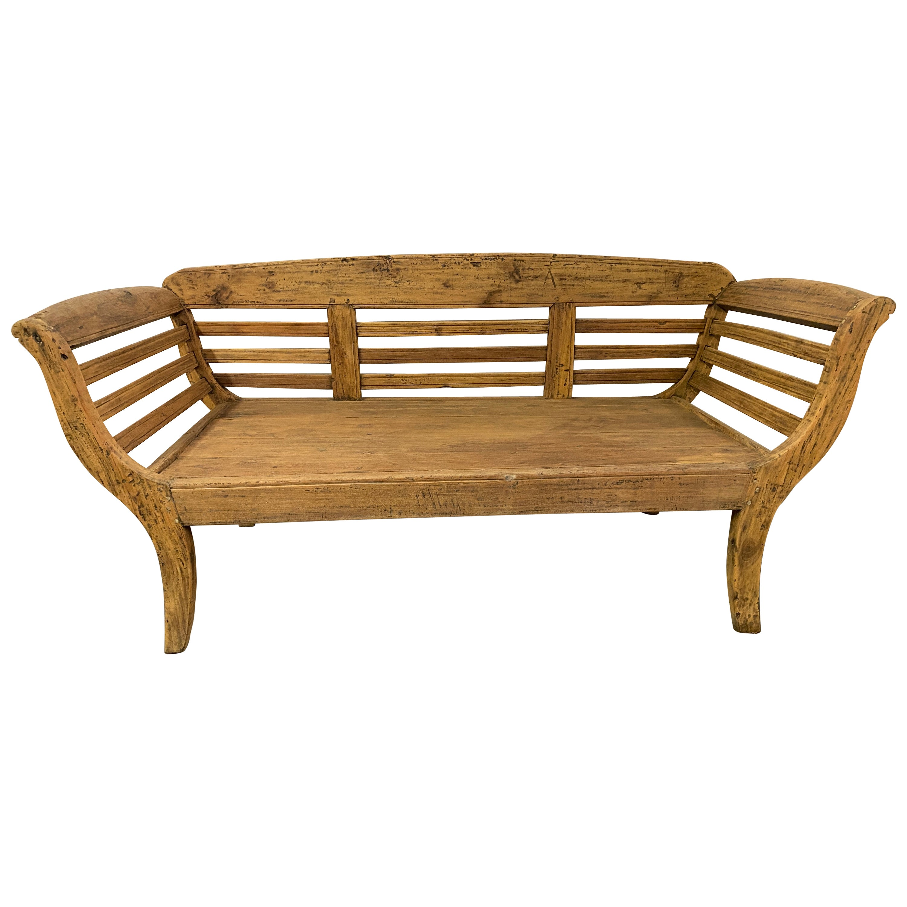 Antique Teak Settee or Bench with Slatted Back, Arms and Cushion