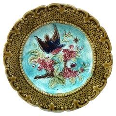 French Majolica Bird & Flower Plate, Circa 1890
