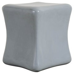 Contemporary Grey Lacquer Short Pillow Drumstool by Robert Kuo, Limited Edition