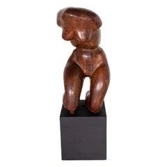 Carved Wood Female Nude Torso Sculpture with Black Pedestal Artist Unknown