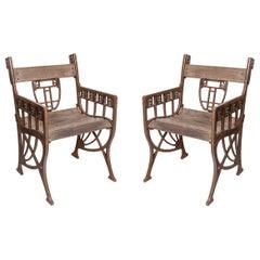 Pair of Iron and Wood Garden Armchairs, Austria, circa 1910