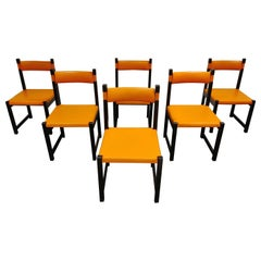 Set of 6 Brutalist Dining Chairs by Emiel Veranneman for Decoene, 1970s