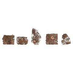 Set of Five Vintage Indonesian Copper Batik Textile Floral Printing Blocks