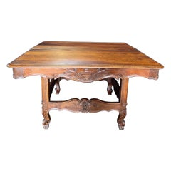 Charming French Provincial Carved 19th Century Walnut Dining Table