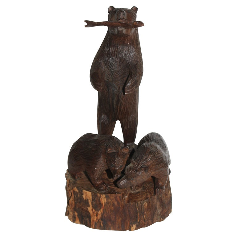 Hand Carved Sculpture of Bears For Sale