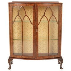 Antique Art Deco Bow Front China, Display Cabinet, Scotland 1930, B2735