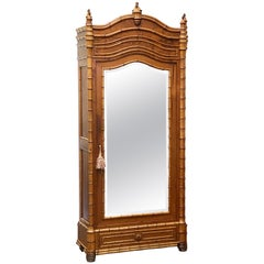 Faux Bamboo Armoire of Long Leaf Pine and Cherry from France
