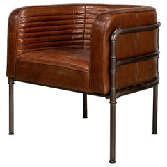 Industrial Modern Leather Armchair