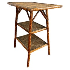Antique Tortoise Shell Bamboo and Woven Rice Mat Side Table