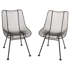 Two Satin Black Russell Woodard Sculptura Mesh Dining Side Chairs, Restored
