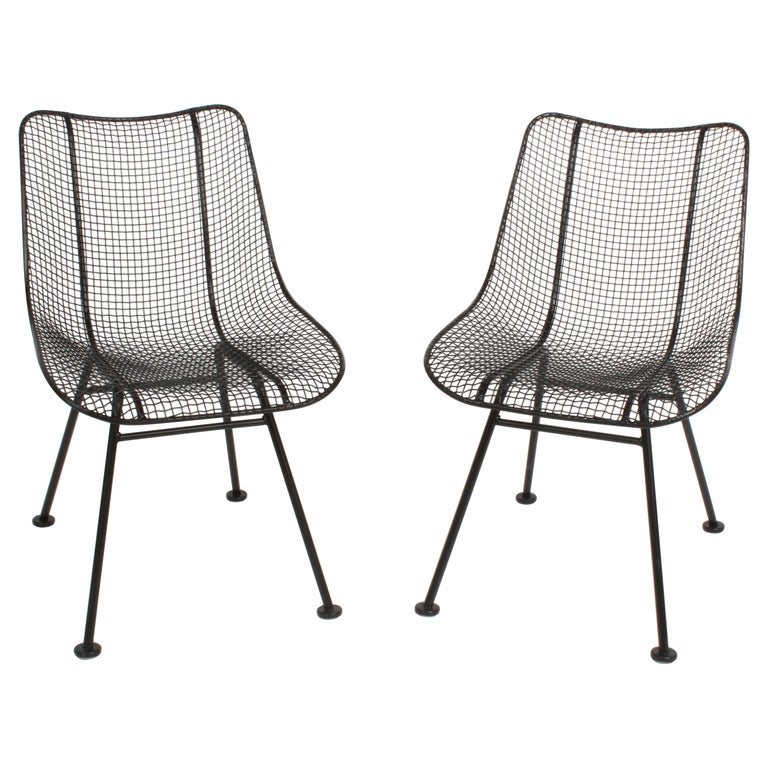 Two Satin Black Russell Woodard Sculptura Mesh Dining Side Chairs, Restored For Sale