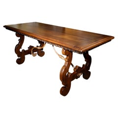 17th Century Style Walnut Refectory Desk Table with Dentil Edge, Custom Size