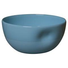 Large Dimpled Porcelain Bowl in Denim Blue