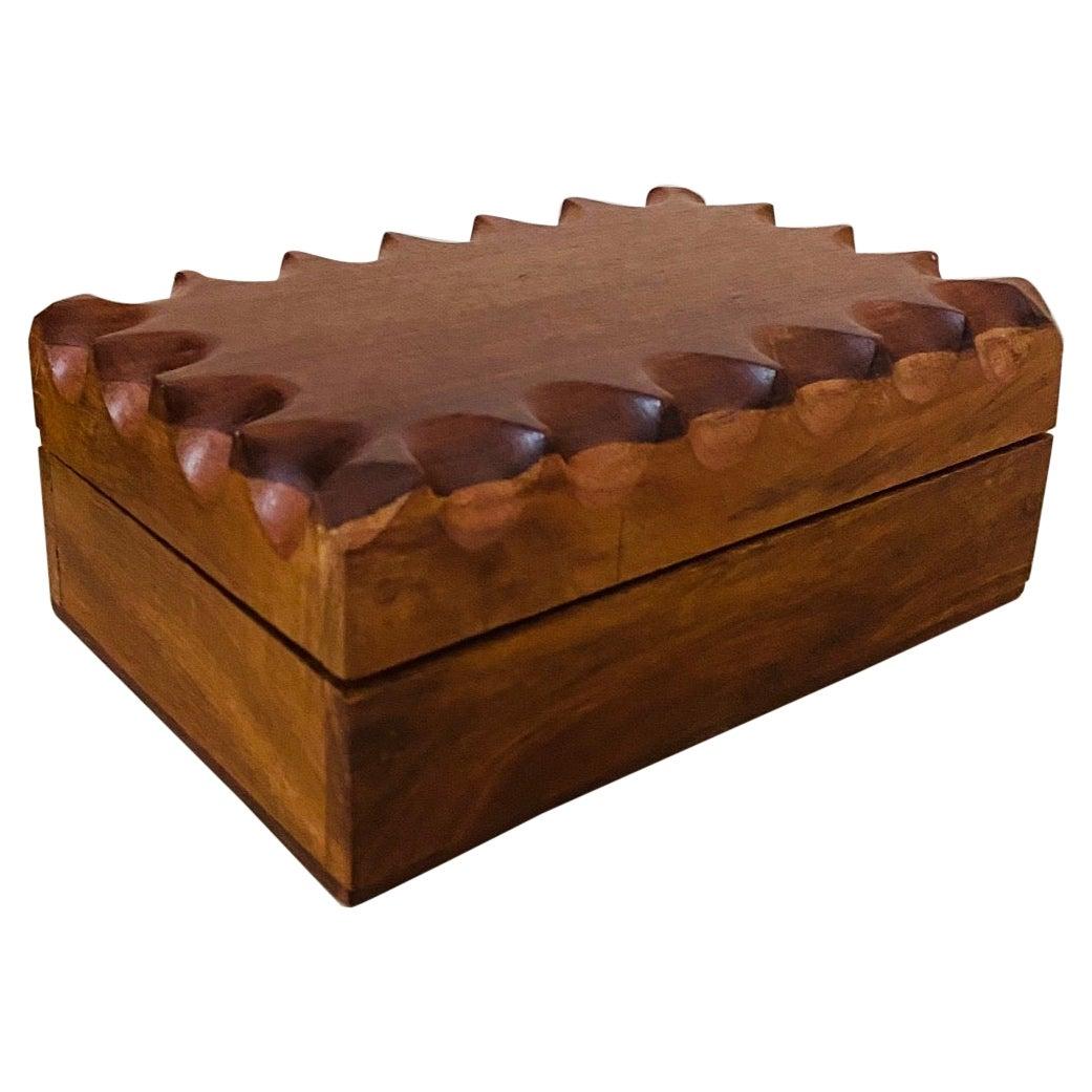 Mid-Century Modern Hand Carved Trinket Box in Walnut Wood, Denmark, c. 1960