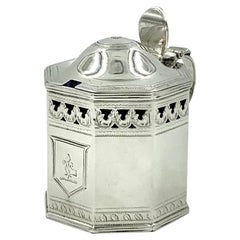 Antique George III Armorial Silver Mustard Pot, Henry Chawner, London, 1794
