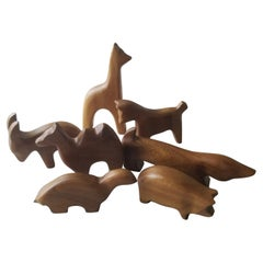 Scandinavian Modern 1950s Vintage Carved Wood Animal Collection Set of 7 Norway