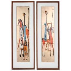 Pair of Mid-Century Judith Daner Style Enamel on Copper Tiles Horses & Warriors