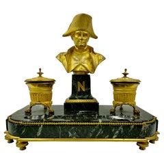 Napoleon I Empire Encrier, Gilt Bronze and Verde Antico, Signed Basil, 1830
