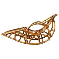 Vintage Organic Modern Bamboo Rocking Lounge Chair