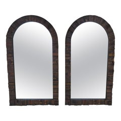 Fabulous Pair of Brutalist Arched Pueblo by Lane Mirrors Mid-Century Modern