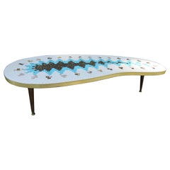 Gorgeous Brass Kidney Shaped Tile Mosaic Top Coffee Table Mid-Century Modern