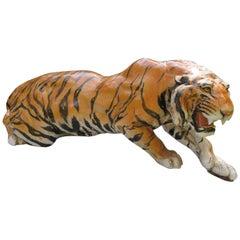 Vintage Large Italian Ceramic Crouching Tiger Statue Miid-Century Modern