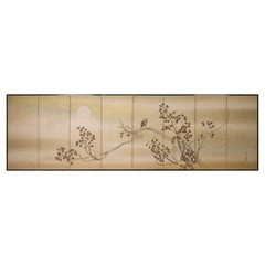 Japanese Eight Panel Screen Owl in a Moonlit Landscape