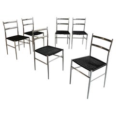 """Chrome """"Superleggera"""" Dining Chairs in the Style of Giò Ponti"""