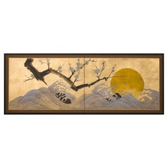 Japanese Two Panel Screen Ocean Landscape, Rising Sun and Plum Branch