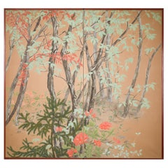 Japanese Two Panel Screen Beautifully Colored, Wooded and Floral Landscape