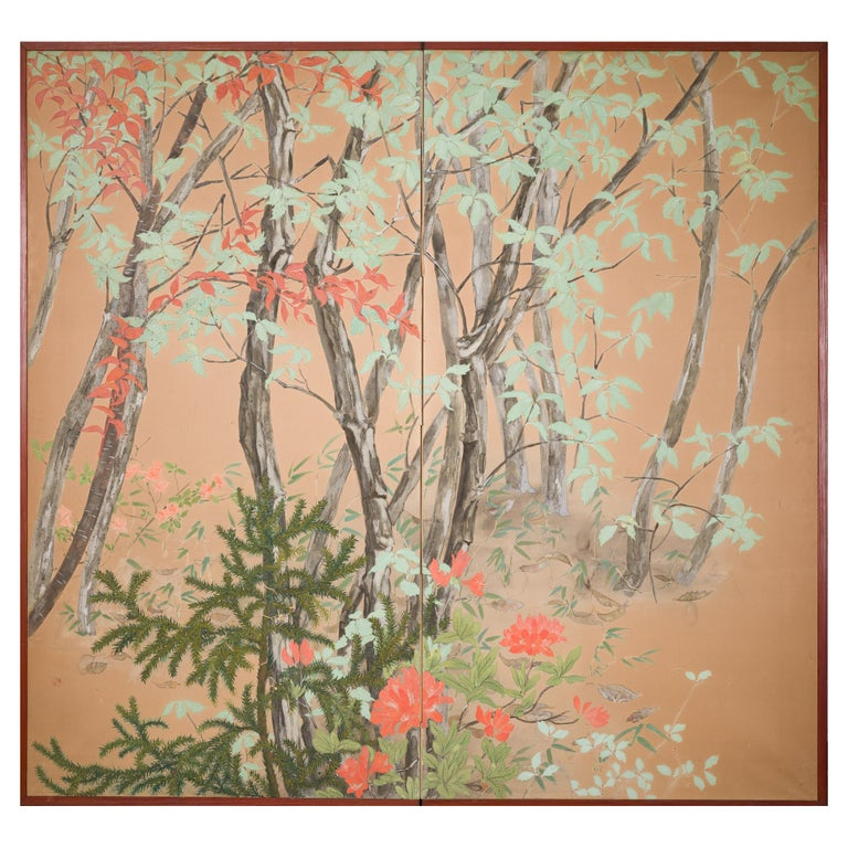 Japanese Two Panel Screen Beautifully Colored, Wooded and Floral Landscape For Sale