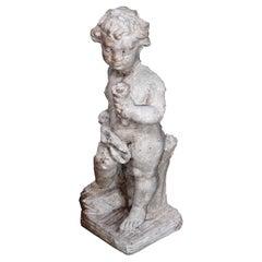Neoclassical Figural Cast Hard Stone Garden Statue, Cherub with Flower, 20th C