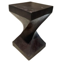 Sculptural French Style Club Stool in Solid Mahogany Block Modern Twist, 1970s