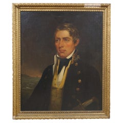 Antique 19th Century Oil Painting on Board Naval Officer Portrait Maritime