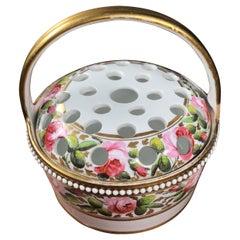 Porcelain Potpourri Basket Painted with Roses, Attr. Davenport, c. 1830