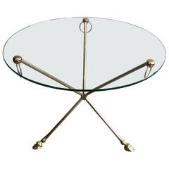 Maison Jansen, Neoclassical Style Brass Round Tripode Coffee Table with Doe Feet