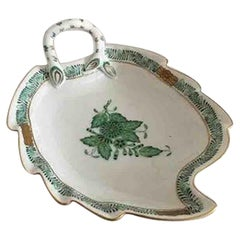 Herend Hungarian Chinese Bouquet Green Leaf-Shaped Bowl