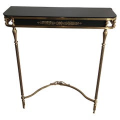 Neoclassical Style Brass and Lacquered Metal Console with Blueish Glass Decorate
