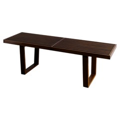 Wooden Bench in Walnut in style of George Nelson Produced in France, 1960s