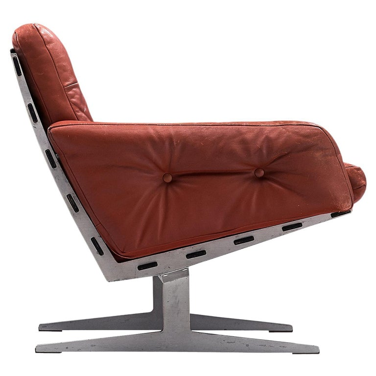 Paul Leidersdorff for Cardo 'Caravelle' Lounge Chair in Red Leather For Sale
