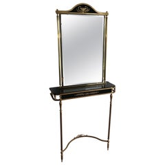 Neoclassical Style Brass and Lacquered Metal Console and Mirror Decorated with P