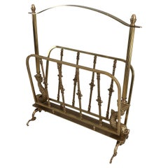 Maison Jansen, Neoclassical Style Brass Magazine Rack with Dolphin Heads, French