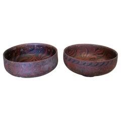 Pair of 1980s Indonesian Hand Painted Oriental Papier-mâché Bowls