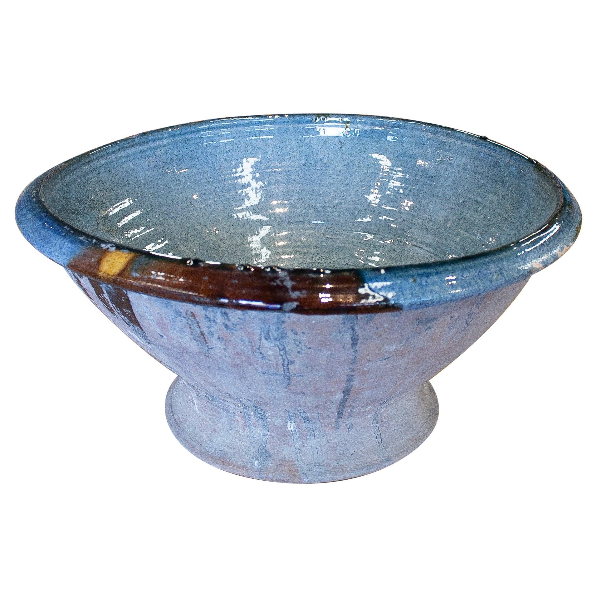 1960s Spanish Blue Glazed Ceramic Bowl
