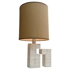 Large Sculptural Travertine Table Lamp, France 1970's