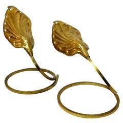 "Pair of brass table lamps ""Foglia"" design Tommaso Barbi, 1970s"
